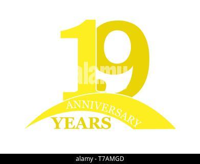 19 años aniversario, plano sencillo diseño, el logotipo Imagen De Stock