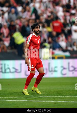 Enero 15, 2019 : Mohammed Saleh de Palestina en Palestina v Jordania en el estadio Mohammed Bin Zayed, en Abu Dhabi, Emiratos Árabes Unidos, AFC Copa Asiática, campeonato de fútbol asiático. Ulrik Pedersen/CSM. Imagen De Stock
