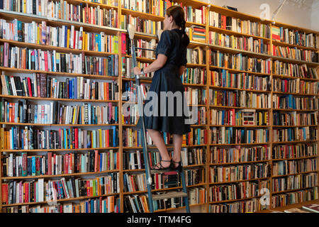 Cliente en pasos mirando libros dentro de St Georges librería de segunda mano en Prenzlauer Berg, Berlín, Alemania Imagen De Stock