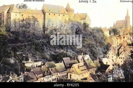 Burg Mildenstein Leisnig, edificios, iglesias en 1913, Leisnig Landkreis Mittelsachsen, Leisnig, und Schloß Mildenstein Schloßberg, Alemania Imagen De Stock