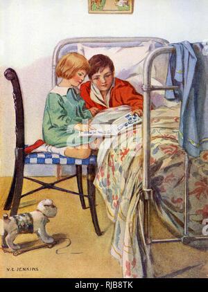 Una niña lee un libro con un amigo inválido que se encuentra convaleciente en la cama. Imagen De Stock