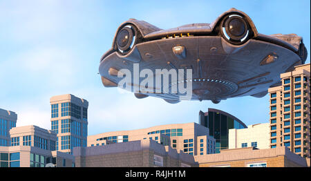 Ovni sobrevolando la ciudad. Ilustración 3d Imagen De Stock