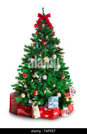 Año Nuevo, el árbol de Navidad con regalos. Aislado sobre fondo blanco. Navidad, Año Nuevo, María Imagen De Stock