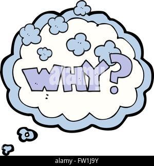 Burbuja de pensamiento dibujados a mano alzada cartoon gritar ¿POR QUÉ? Imagen De Stock
