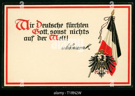 Schleswig-Holstein, Friedrichsruh, WW I, propaganda, patriótico postal con el texto ' alemanes nos temen a Dios, nada más en el mundo! - Von Bismarck ', y el negro-blanco-rojo bandera, alrededor de 1914. , Additional-Rights-Clearance-Info-Not-Available Imagen De Stock