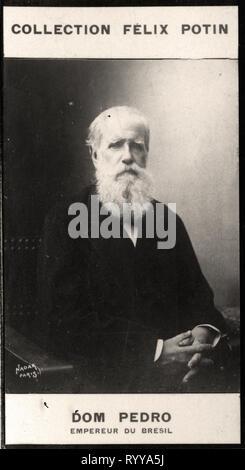 Retrato fotográfico de Dom Pedro Empereur Du Brsil Colección de Félix Potin, de principios del siglo XX. Imagen De Stock