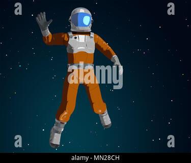 Ondeando cartoon astronauta ondeando en el espacio. Ilustración 3D Imagen De Stock