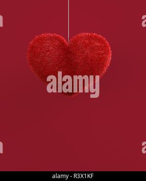 Abstracto corazón peludo rojo decorado sobre fondo rojo para san valentín,3D rendering Imagen De Stock