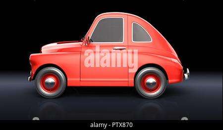 Cartoon coche rojo sobre fondo negro. Ilustración 3D Imagen De Stock