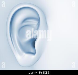 Imagen conceptual sobre la audición humana.3D ilustración Imagen De Stock