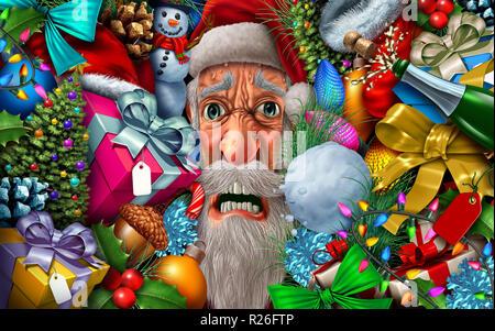 Frustrado de Santa Claus y la navidad la presión o la temporada de vacaciones de invierno santaclause cefalea con ilustración 3D elementos. Imagen De Stock