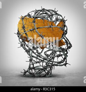 El proteccionismo en los Estados Unidos como una política económica restrictiva o concepto de la seguridad nacional estadounidense de la frontera con la ilustración 3D elementos. Imagen De Stock