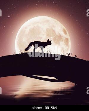 Pequeño zorro cruzar un río en el tronco de un árbol bajo la luna,3D rendering Imagen De Stock