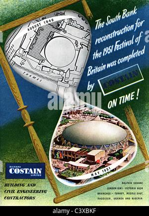 Anuncio para Costain, desde el Festival de Gran Bretaña, guía, publicada por HMSO. Londres, Reino Unido, Imagen De Stock