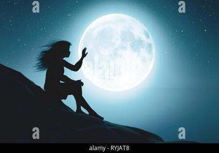 Solo chica tocando la luna en la noche estrellada,3D rendering Imagen De Stock