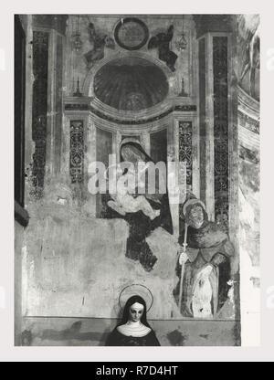 Viterbo Lacio Vitorchiano Madonna di San Nicola, esta es mi Italia, el país de la historia visual, Tres vistas exteriores de 16ª c. iglesia cobertura completa del interior de la iglesia, incluyendo los altares, nave y numerosos frescos de la escuela viterbese Imagen De Stock