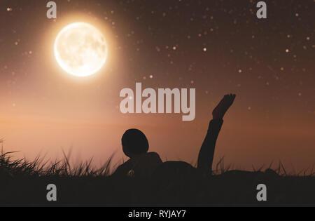 Chica acostada en campo de hierba mirando a la luna,3D rendering Imagen De Stock