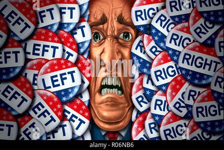 El estrés y el elector votar o votar presión psicológica concepto como una campaña electoral psicología angustia símbolo con conservadores y liberales. Imagen De Stock