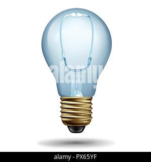 Medical ideas símbolo como un estetoscopio médico formado como una bombilla de luz como una metáfora de la solución de atención hospitalaria como una ilustración 3D. Imagen De Stock