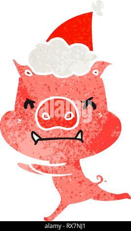 Enojado dibujadas a mano retro cartoon de un cerdo llevar gorro de Papá Noel Imagen De Stock