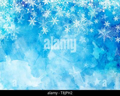 Christmas background de copos de nieve y estrellas en una acuarela textue Imagen De Stock