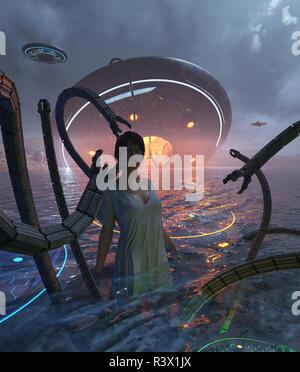 Las mujeres están siendo atacados por un tentáculos de un ovni estrellándose en el mar,3d ilustración Imagen De Stock