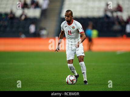Enero 15, 2019 : Yaseen Al-Bakhit palestina de Jordania durante v Jordania en el estadio Mohammed Bin Zayed, en Abu Dhabi, Emiratos Árabes Unidos, AFC Copa Asiática, campeonato de fútbol asiático. Ulrik Pedersen/CSM. Imagen De Stock