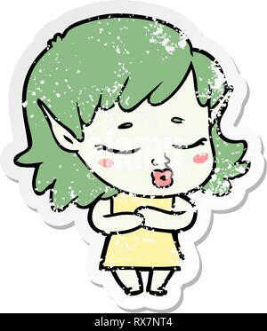 Pegatina angustiado de un tímido cartoon elfo chica Imagen De Stock