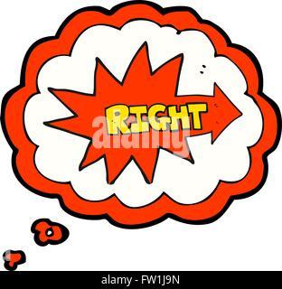 Pensamiento dibujados a mano alzada de dibujos animados burbuja símbolo derecho apuntando Imagen De Stock