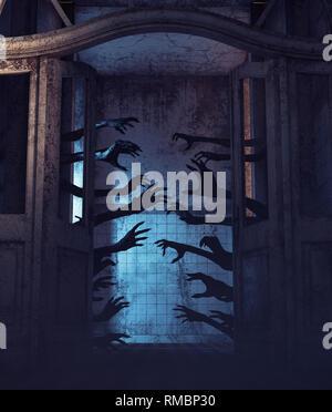 Casa de mil manos,Undead manos detrás de las puertas en una casa embrujada,3D rendering Imagen De Stock