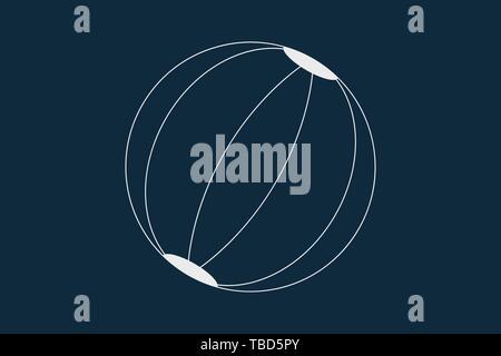 Dibujo de líneas vector de una pelota de playa sobre azul Imagen De Stock