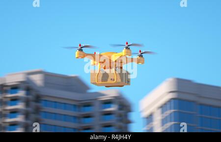Drone llevando una parcell. Ilustración 3d Imagen De Stock