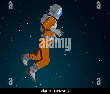 Cartoon astronauta en el espacio. Ilustración 3D Imagen De Stock