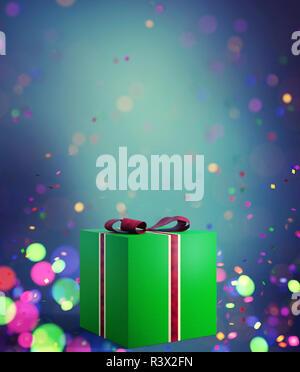 Caja de regalo verde decorado con coloridas luces borrosa antecedentes,3d ilustración Imagen De Stock