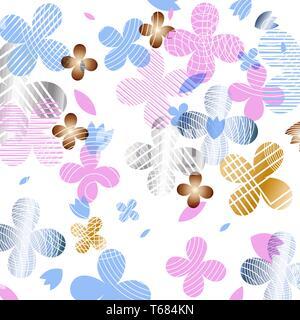 Patrón floral abstracto. Modernos colores aleatorios. Ideal para textiles, embalajes, papel de impresión, fondos y texturas simples. Imagen De Stock