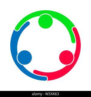 El trabajo en equipo. Un grupo de tres personas que forman un círculo. Imagen De Stock