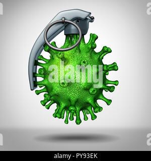 Bomba de virus amenaza médica como una enfermedad peligrosa shapred patógeno como una granada de mano como un icono para la guerra biológica y peligros. Imagen De Stock