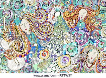 Los rostros de mujer, pavos reales, corazones y flores en el intrincado patrón ornamental Imagen De Stock