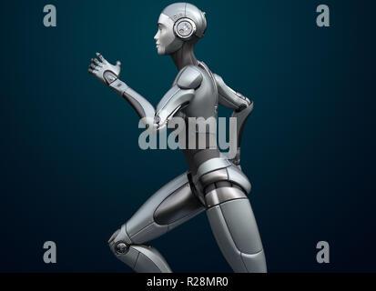 Ejecutando cyborg sobre fondo oscuro. Ilustración 3D Imagen De Stock