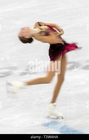 Motion Blur acción de Anita Östlund (SWE) competir en el Patinaje artístico - Corto de damas en los Juegos Olímpicos de Invierno PyeongChang 2018 Imagen De Stock