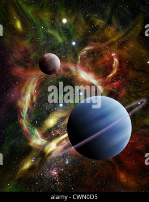 Ilustración: Un par de planetas alienígenas flotar entre las estrellas y un ardiente nebulosa en el espacio Imagen De Stock