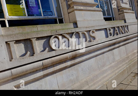 Lloyds Bank tallada en piedra pared fuera de sucursal, Norwich, Norfolk, Inglaterra Imagen De Stock