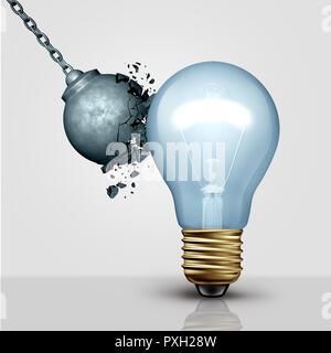 Fuerte idea creativa de la metáfora y la fuerza de la creatividad como una bola de demolición destruido por la luz de una bombilla como símbolo de gran pensamiento y lluvia de ideas. Imagen De Stock