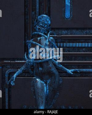 Me comen vivo,mujer dentro de piezas de acero,3D rendering Imagen De Stock