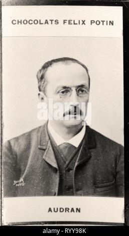 Retrato fotográfico de Audran de colección Félix Potin, de principios del siglo XX. Imagen De Stock