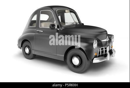 Cartoon coche negro aislado en blanco. Ilustración 3D Imagen De Stock