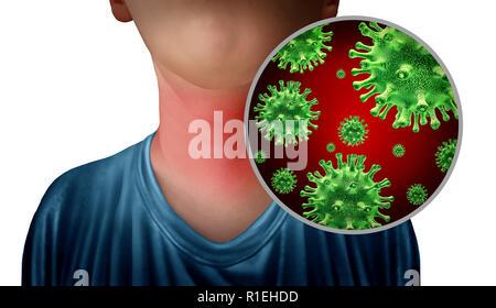 Infección de garganta como un cuello con germen microscópico anatomía estrecha como un símbolo para la gripe o influenza la enfermedad con ilustraciones en 3D. Imagen De Stock