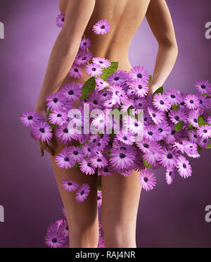 Let it bloom,mujer llena de flores,3D rendering Imagen De Stock