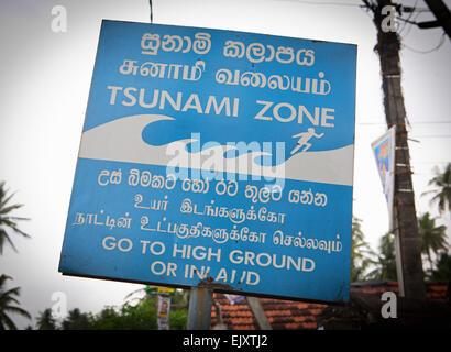 Signo de la zona del tsunami Imagen De Stock
