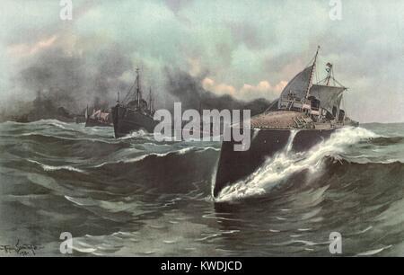 España barco torpedo flotilla en ruta hacia el Caribe, mayo de 1898. Escuadra española, comandada por Imagen De Stock